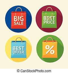 plano, vector, set., venta, bolsa, papel, diseño, icono