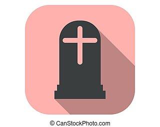 plano, vector, tumba, largo, icono, lápida, halloween, octubre, ilustración, 31st., shadow., style.