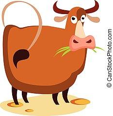plano, vector, vaca, ilustración