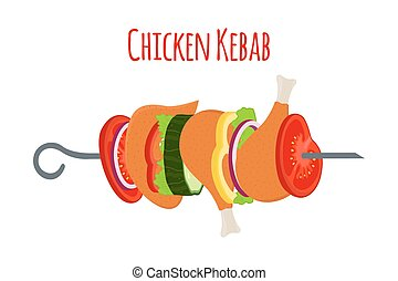 plano, vector, vegetables., ilustración, caricatura, pollo, barbacoa, style.