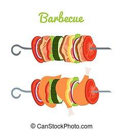plano, vegetables., carne, pollo, ilustración, caricatura, vector, barbacoa, style.