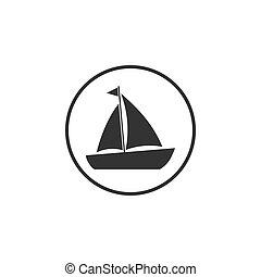 plano, vela, ilustración, barco, navegación, yate, vector,...