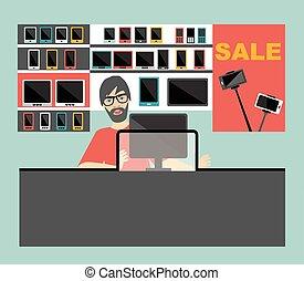 plano, vendedor, electrónico, supermarket., design.