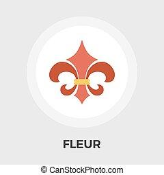 plano, vendimia, fleur, vector, icon., style.