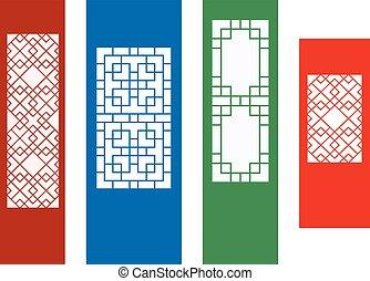 plano, ventana, ornamento, pared, coreano