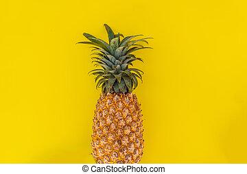 plano, verano, concept., colocar, amarillo, fondo., piña, ...