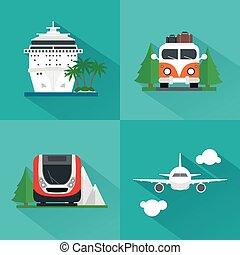 plano, viaje, conjunto, moderno, transporte