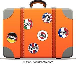 plano, viaje, diseño, suitcase., aislado