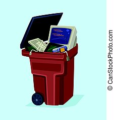 plano, viejo, can., ilustración de tecnología, teléfono, vector, electrónica, basura, computadora, caricatura