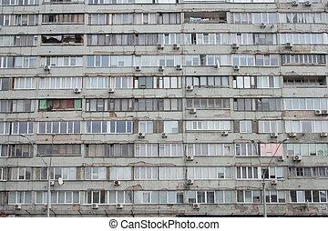 plano, viejo, fasade, casa, período, soviético, embotado