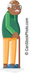 plano, viejo, ilustración, aduelo, vector, diseño, adulto, africano