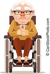 plano, viejo, sílla de ruedas, Sentado, carácter, Ilustración,  vector, sonriente, hombre, caricatura, feliz