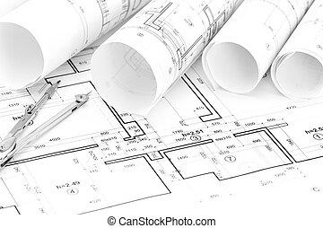 planos, arquitectónico, rollos, plano de fondo, compás, plan, dibujo