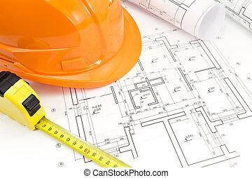 planos arquitectónicos, y, protector, casco