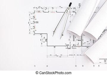 planos, arquitecto, dibujo, espacio de trabajo, compás