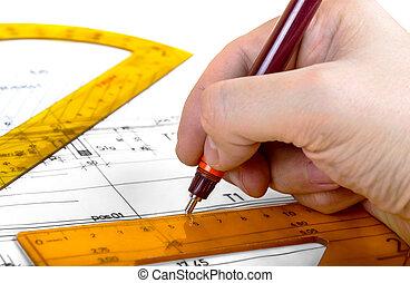 planos, arquitecto, dibujo, plan