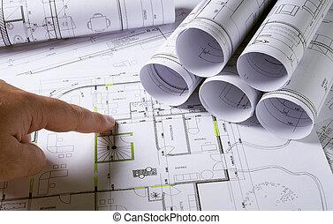 planos, arquitetura, mãos