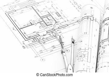 planos, casa, rollos, plan, arquitectónico, compás, dibujo