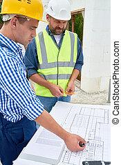planos, chão, verificar, local, construção, construtores
