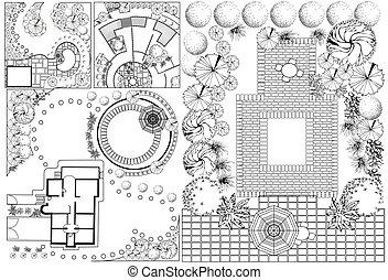 planos, coleções, paisagem, od