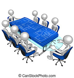 planos, construcción, reunión
