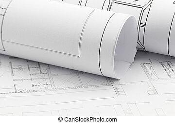 planos, desenho, construção, plano arquiteto, rolos