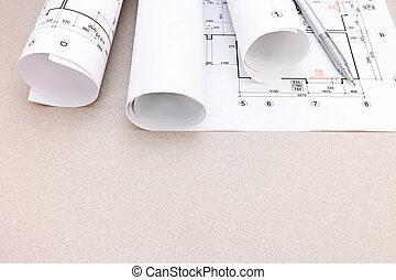 planos, dibujos, arquitectónico, rollos
