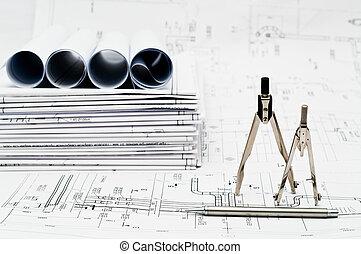 planos, diseño, trabajando