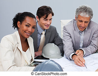 planos, estudar, reunião, arquitetos