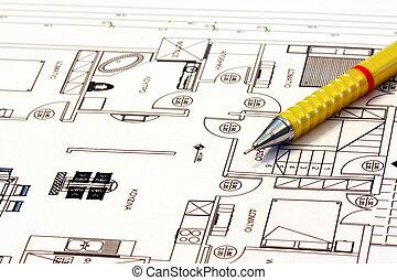 planos, lar, arquitetura
