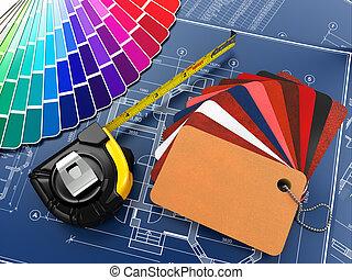 planos, materiales, arquitectónico, interior, herramientas, ...