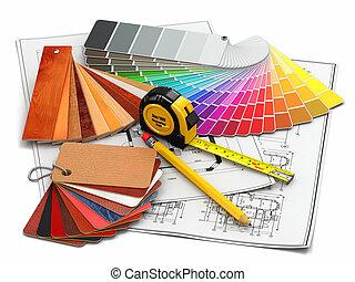 planos, materiales, arquitectónico, interior, herramientas, design.