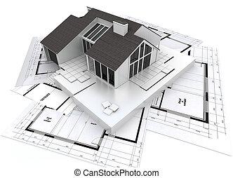 planos, modelo, arquitetura