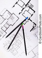 planos, para, residencial, apartamentos, com, lápis