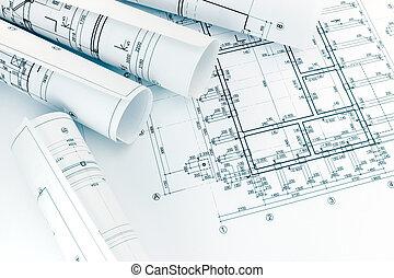 planos, piso, arquitectos, rollos, arquitectura, espacio de trabajo, dibujo, plan
