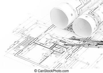 planos, piso, rollos, plan, arquitectónico, compás, dibujo
