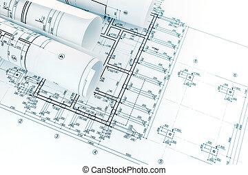 planos, planes, rollos, proyecto, papel, arquitectónico, dibujo