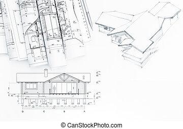 planos, rollos, arquitectónico, dibujo