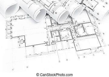 planos, rollos, arquitectónico