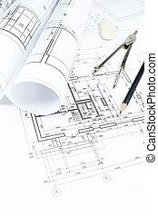planos, rollos, y, dibujo, herramientas
