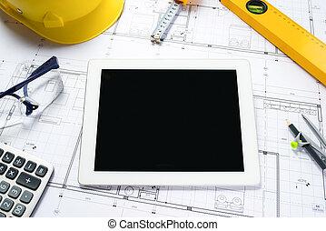 planos, tableta, arquitectónico, digital, herramientas, rollos