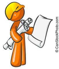 planos, trabalhador, contratante, construção, laranja, homem