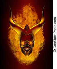 planoucí, démon, rohatý, lebka