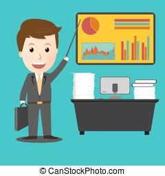 planowanie, biznesmen, jego, praca