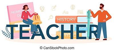 planowanie, header., program, nauczyciel, graficzny, spotkanie, profesor