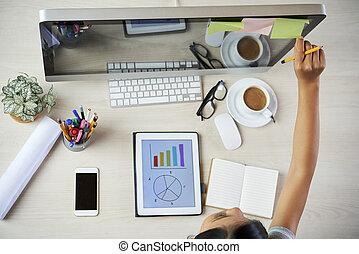 planowanie, kobieta interesu, praca