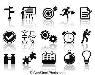 planowanie, komplet, czarnoskóry, ikony