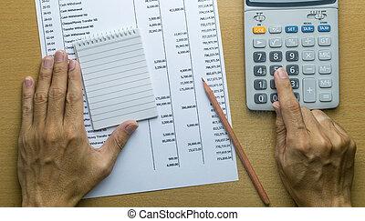 planowanie, miesięcznik, budżet, albo, rachunek, wydatki