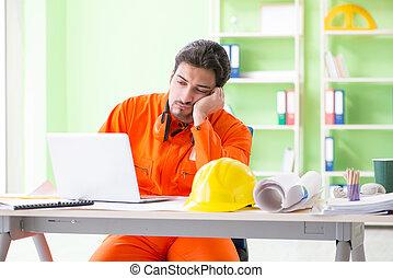 planowanie, nadzorca, biuro, projekt, zbudowanie, nowy
