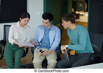 planowanie, praca, ludzie, razem